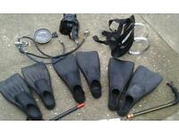 DIVING EQUIPMENT FLIPPERS SIZE 9.10.&12 MASK AIR PIPES & BOTTLE HARNESS