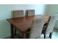 Solid Wood Dining Room Table & 4 Chairs, Requiring a quick sale