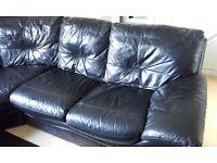 DFS status used black leather corner sofa