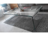 Solid Clear Glass coffee table