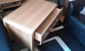 Homebase hygena oak effect coffee table drawer storage curved