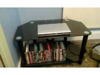 Glass black tv unit DVD player and 30 dvds