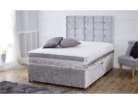 💫💫 FREE & FAST DELIVERY 💫💫 DOUBLE CRUSHED VELVET DIVAN BED BASE WITH DEEP QUILTED MATTRESS