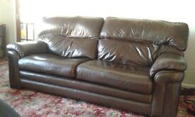 3 piece brown leather suite, excellent condition