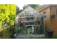 8X6 ft Greenhouse with paraffin heater and stands for planting.