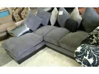 Ex display chenille corner sofa delivery free