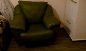 Beautiful Racing Green Italian Leather Armchair.. Need To Be Sold For Extra Room...Must Collect!!