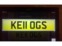 Cherished number private reg ..KEII OGS as namesake Kellogg Name.