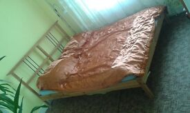 wooden double bed frame for sale + mattress grati