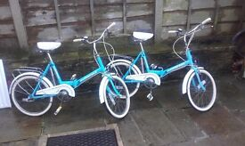 folding bikes 3 speed sturmey archer - pair like brompton dahon moulton