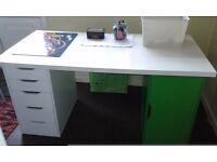 Ikea desk top, drawer and storage units.