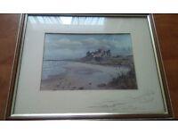A genuine signed print of Bamburgh Castle by john j kerr