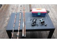 2 cane fishing rods and reels etc