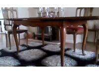 7ftcirca1920'sQuality walnut Draw Leaf Table Parquet Top LouisXV 4 matching ratan seat dining chairs