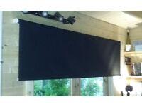 Black roller blinds; two