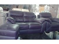 New High Grade Real Leather 2+1+pouffe Purple Sofa Set Lounge Couch Arm Chair Stool