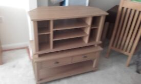 Oak effect tv unit and coffee table