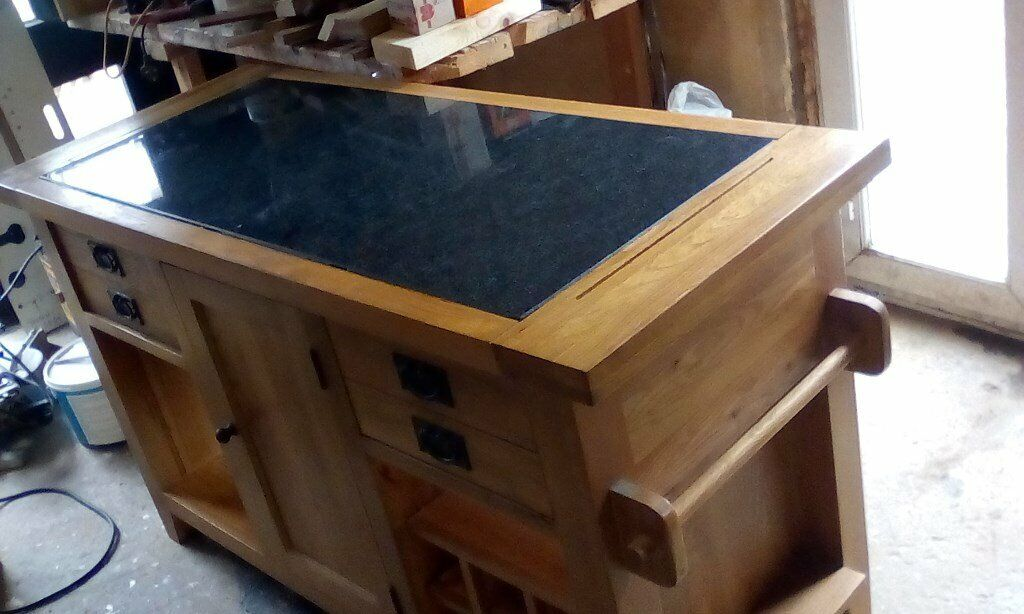 Phenomenal Solid Oak Kitchen Work Bench With 20Mm Marble Inlay This Can Be Lifted Out In Great Condition In Lanark South Lanarkshire Gumtree Pdpeps Interior Chair Design Pdpepsorg