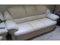 2 and 3 Seater Cream Coloured Leather Sofas