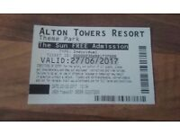 For sale 2 individual alton towers tickets valid until Tuesday 27/06/2017