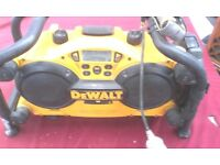 DEWALT RADIO WITHOUT THE BATTERY CHARGER AVAILABLE FOR SALE