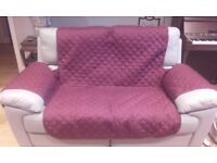Quilted reversable washable covers for 2 seater sofas wine/camel almost new £20