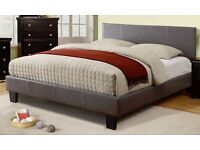 BEST SALE ON !! DOUBLE LEATHER BED FRAME WITH ORTHOPAEDIC OR MEMORY FOAM MATTRESS BLACK - BROWN