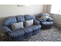3 piece soft leather suite and 2 two seater settees
