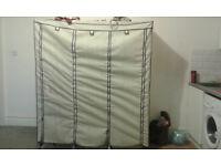 Wardrobe Cupboard Clothes Hanging Rail Storage Shelves Beige 175 x 150 x 45cm (Triple)