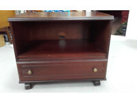 TV Stand, 26inch (66cm) dark wood with draw and shelf.