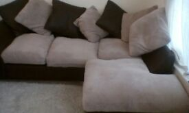 House Clearance - Leather and Fabric Corner Sofa - 6 Mths Old- Cost £499