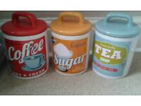 Tea Coffee Sugar Ceramic Storage Jars Retro Design VGC