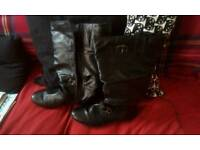 Ladies leather boots size8 wide fit