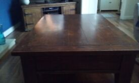 Large coffee table dark wood could be painted good condition