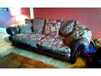 Large scatterback sofa (fabric and leather)