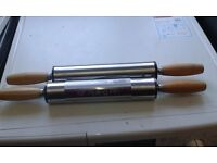 """STAINLESS STEEL NON STICK 19"""" ROLLING PIN PASTRY DOUGH BAKING KITCHEN WOODEN NEW 2 for price of 1"""