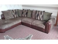 Lovely large corner sofa leather around the bottom £180 needs gone asap