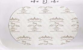 Parisienne print pvc vinyl bath mat suction cups ivory off white............Brand New