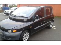 Fiat Multipla, Black, 1.6, Drives well, clean car, 6 Months mot, all in good working order