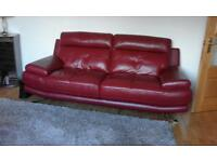 Harvey's Red Leather Suite 3+2 As New