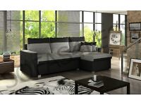 Corner sofa fabric and leather Grey and Black