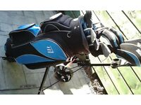 New - Complete Left Handed Golf Package Set including Woods,Irons,Putter, Cart Bag,Trolley,Umbrella.