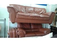 EX DISPLAY DFS 3+2 LEATHER SOFA SUITE DELIVERY FREE