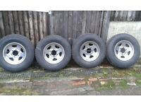 Set of 4 X 6 stud Hilux wheels with tyres