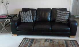 Black leather 3 seater sofa VGC