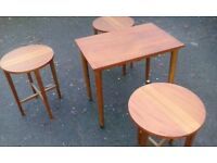 Rectangular coffee - side table on casters and 3 round nest of tables