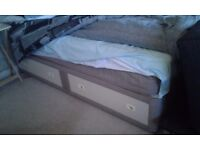 Single divan bed on castors, 2 large draws in base Mattress+mattress protector Excellent condition