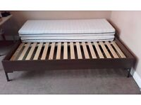 Large double Ikea bed complete with mattress. VGC