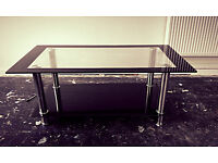 Coffee Table - Black, Silver & Glass