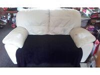 2 x Cream Leather Sofas